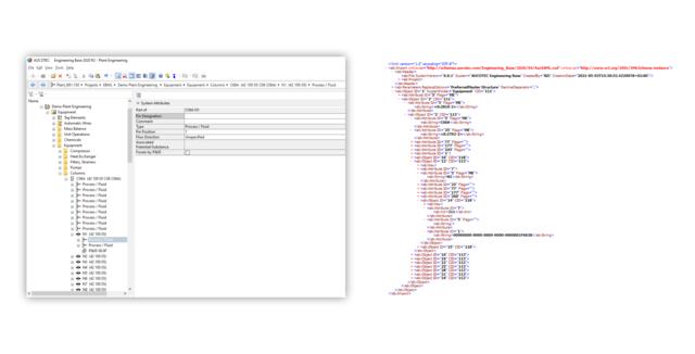 """Beschleunigter Datenaustausch: EBML """"übersetzt"""" automatisch die Informationen aus EB (li.) in ein XML-basiertes Standardformat (re.) (Bild: AUCOTEC AG)"""