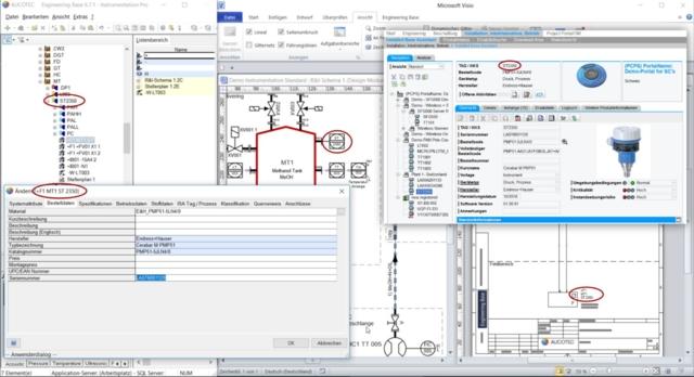 Direkt aus der Bearbeitung von jedem Engineering-Dokument ins W@M-Portal von Endress und Hauser. (© AUCOTEC/Endress+Hauser)